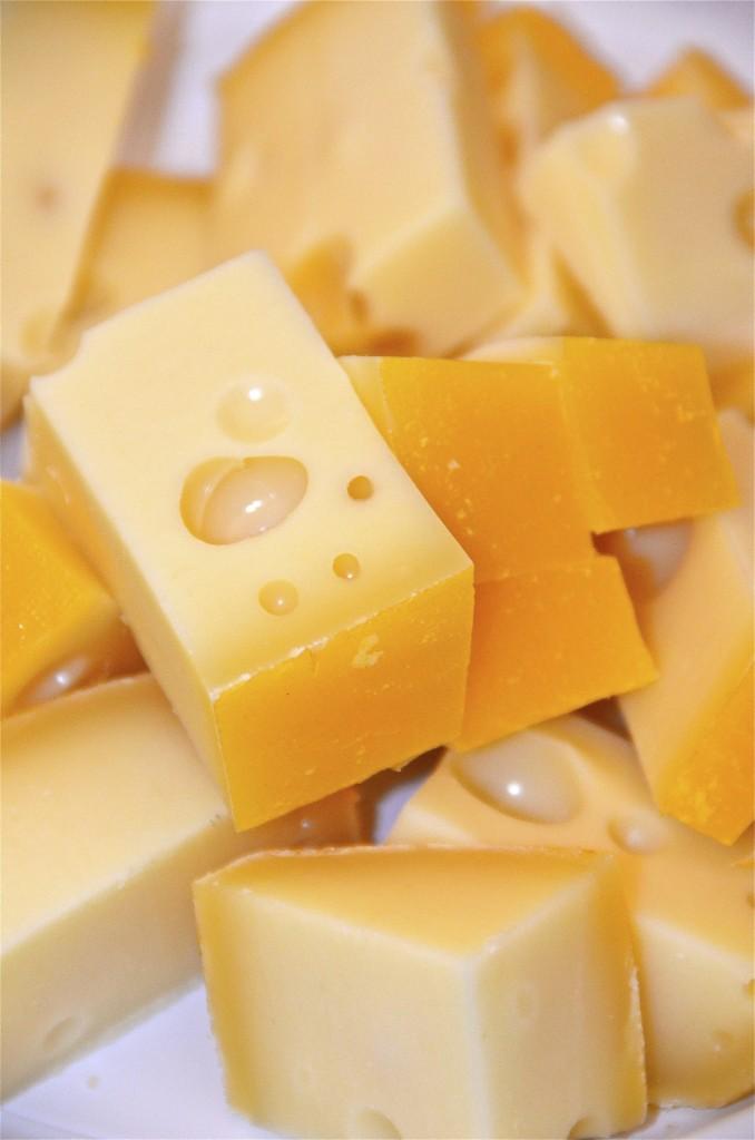 trozos de queso en la granja. Vester Skeringe, Dinamarca. Copyright, Hernando Reyes.