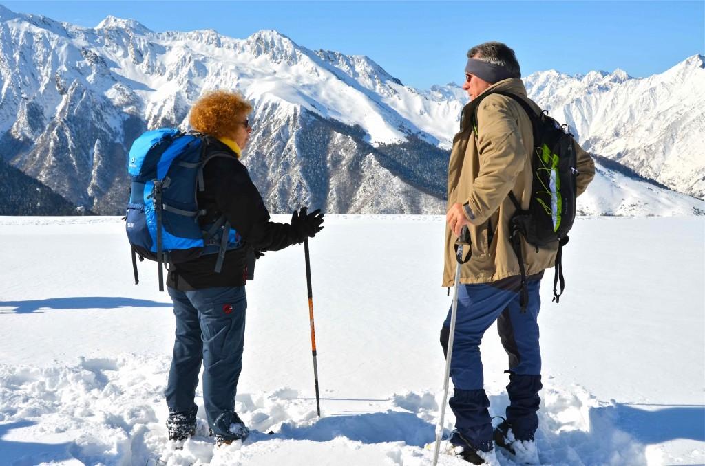La meta en la excursión de raquetas de nieve por el Val Louron, Altos Pirineos. Francia. Copyright Hernando Reyes