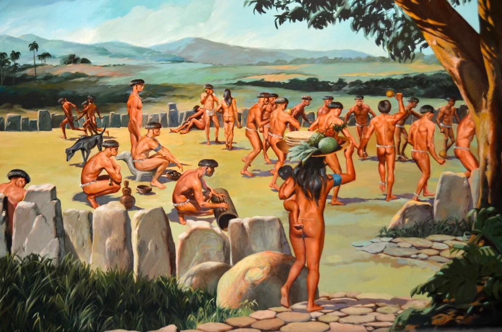 Indios en la época de la conquista. Cuadro del Museo del Hombre Dominicano, Santo Domingo. Copyright Hernando Reyes