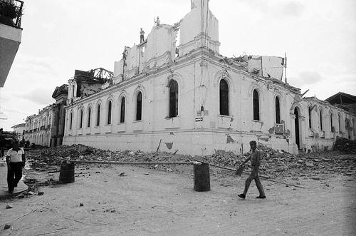 Estado del centro colonial de Popayán tras el desolador terremeto de 1983. popayán, Colombia.