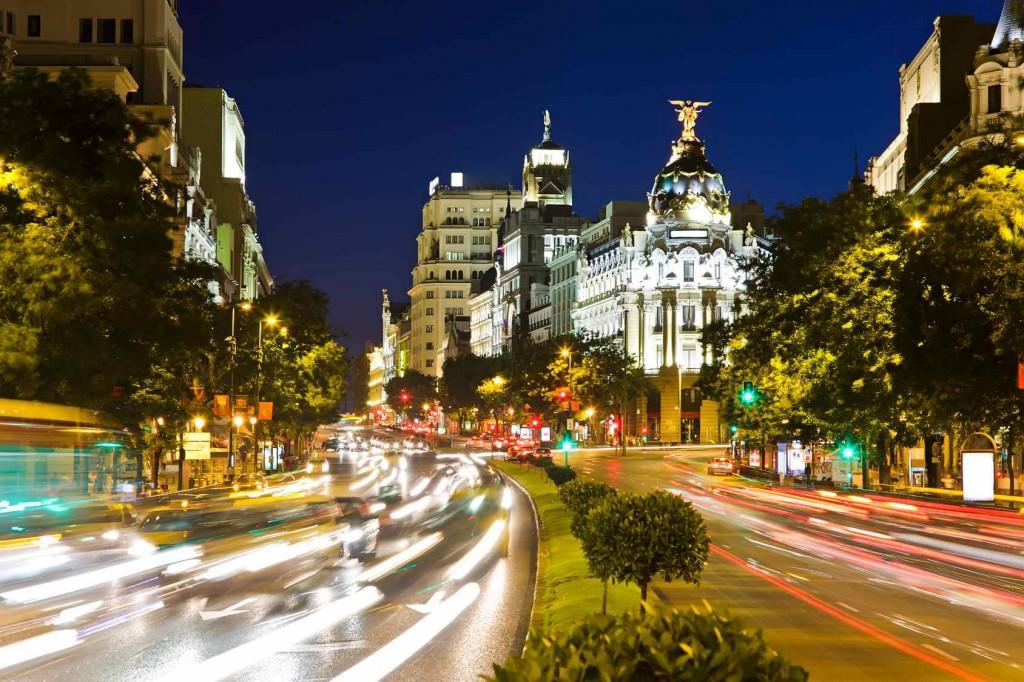 Traffic in night Madrid, Spain